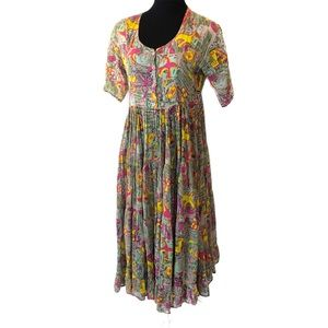 Vintage abstract print baby doll dress
